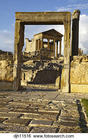Stock Images of Africa, North Africa, Tunisia, Dougga.