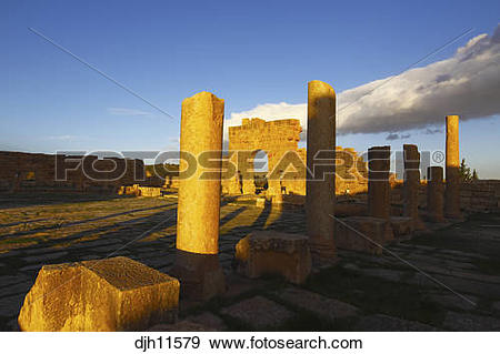 Stock Photograph of Africa, Tunisia, Sbeitla Archaeological Site.