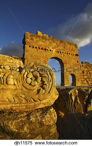 Stock Image of Africa, Tunisia, Sbeitla Archaeological Site, Roman.