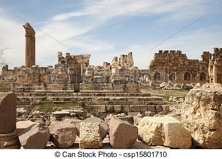 Clipart of Ruins in Baalbek, Lebanon.