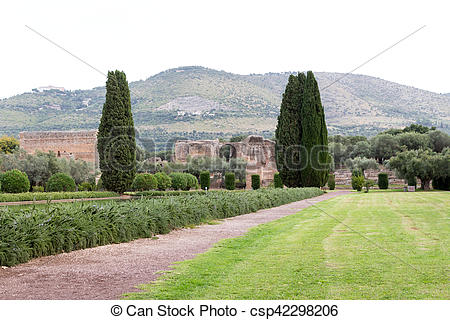 Stock Photography of The hadrian villa, adriana is a large roman.