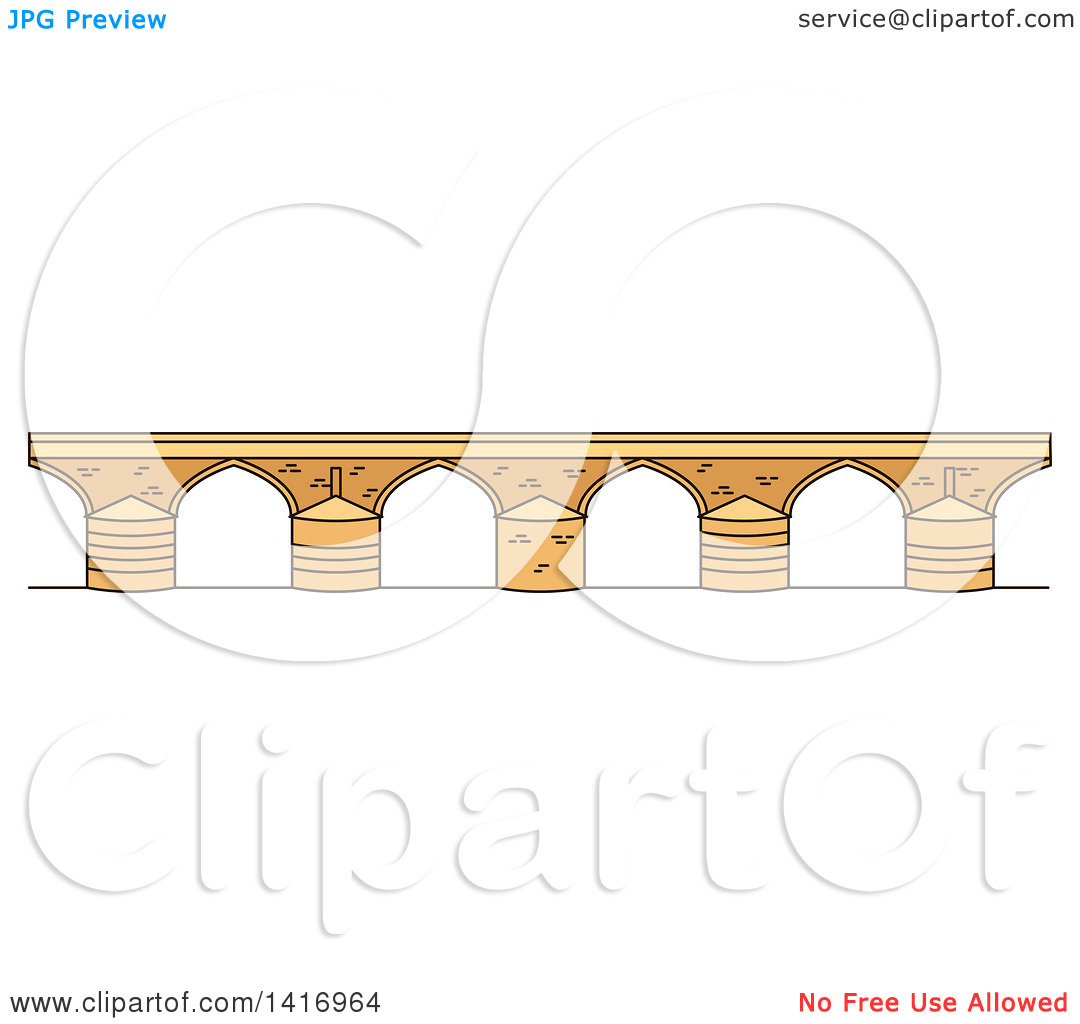 Clipart of a Sketched Spanish Landmark, Roman Bridge.
