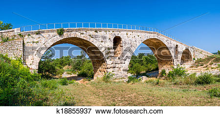 Picture of Panoramic view of Pont Julien, famous roman bridge in.