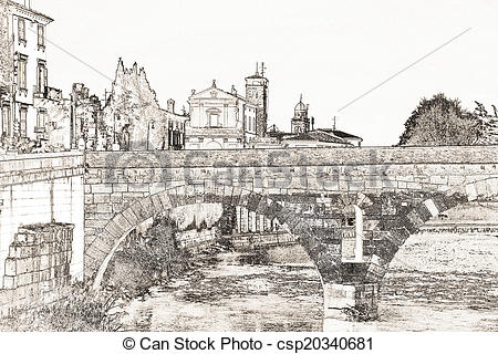 Stock Illustration of Roman Bridge.