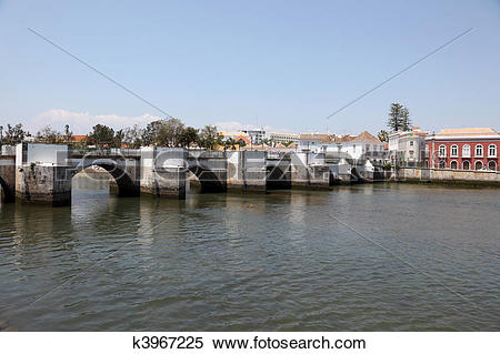 Stock Image of Old Roman bridge in Tavira, Algarve Portugal.