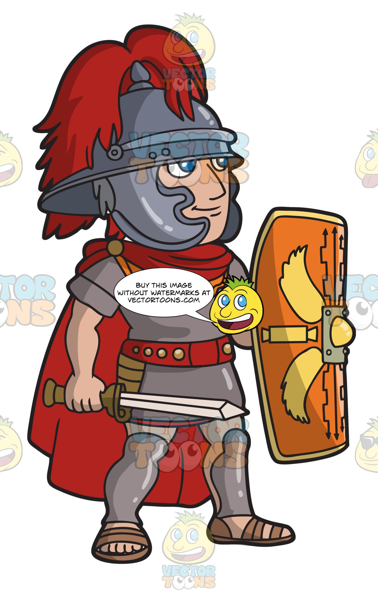 A Roman Centurion With His Shield.