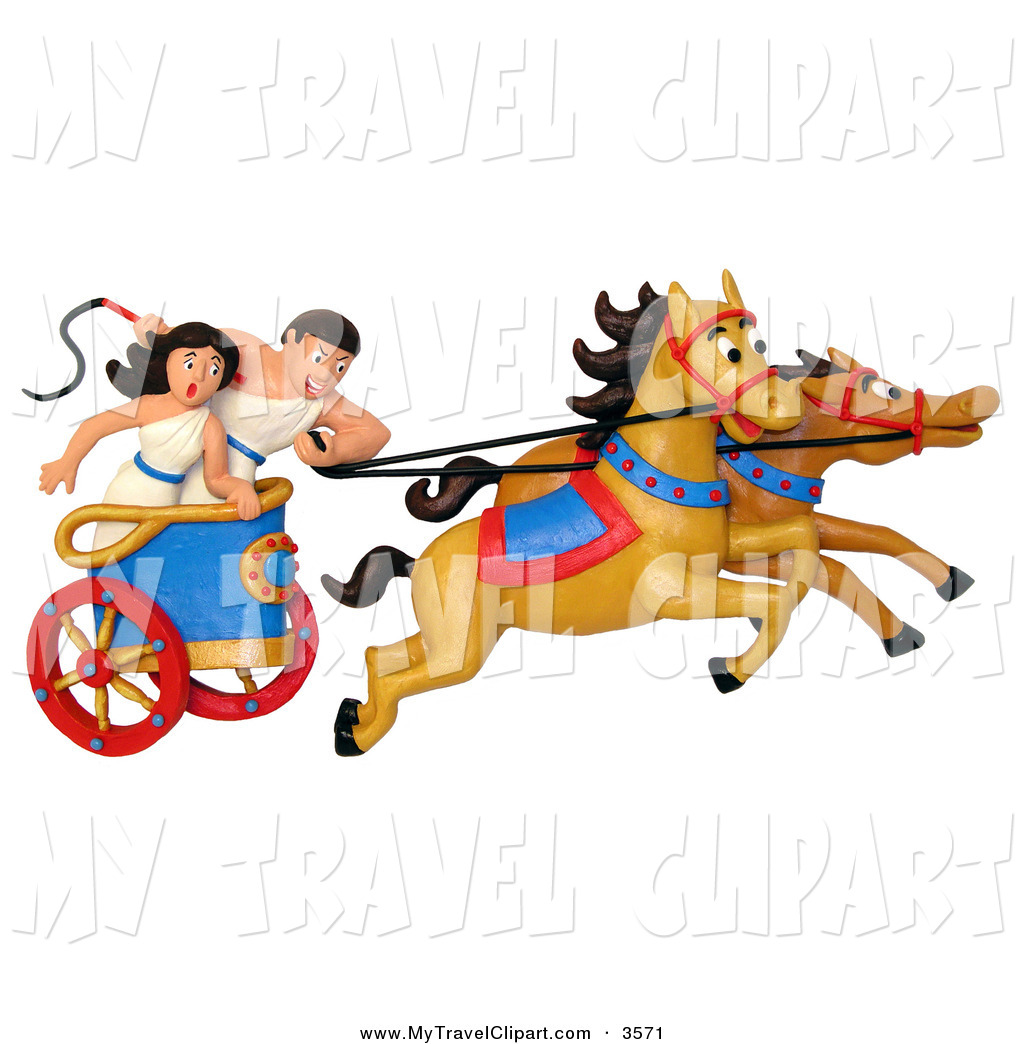 Clipart of a 3d Roman Couple Racing a Chariot to the RIght.