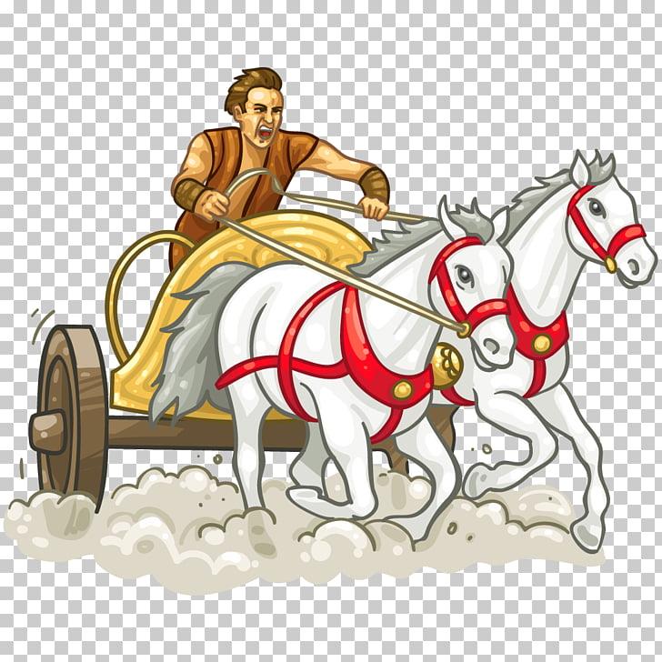 Chariot racing Horse , roman PNG clipart.