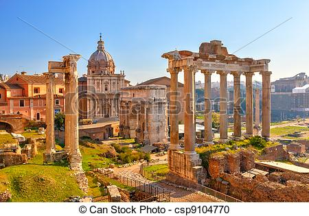 Stock Photography of Roman ruins in Rome, Forum.