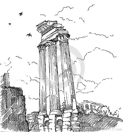 Roman Forum Stock Vector.