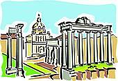 Clipart of Rome (ancient Roman Forum) k18101091.