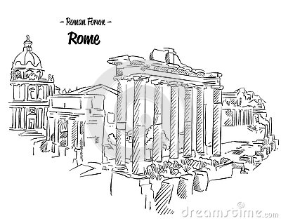 Roman Ruins Rome Forum Stock Illustrations.