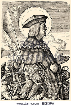 Maximilian I, Holy Roman Emperor, In Suit Of Armour And Plumed.