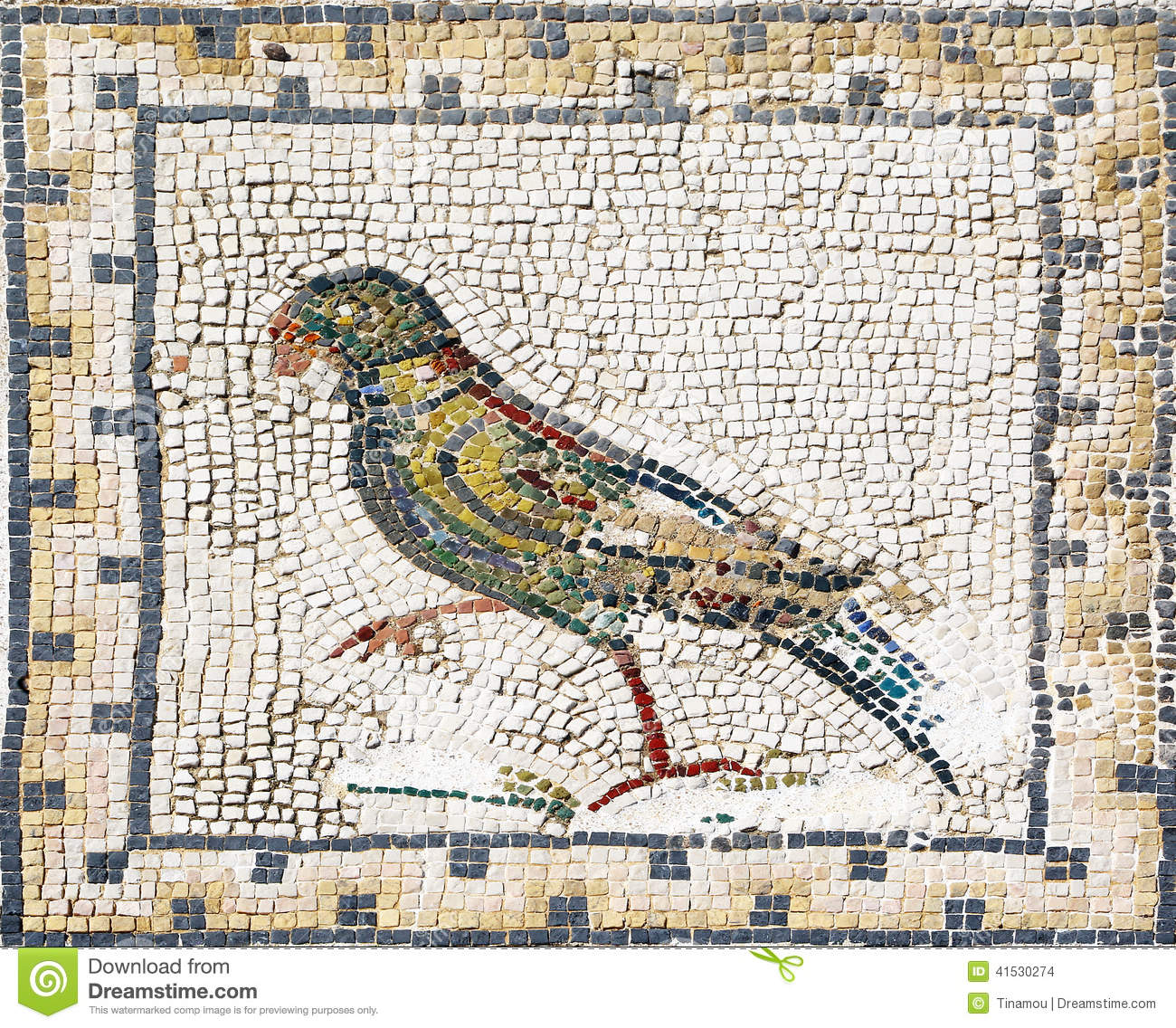 Ancient Roman Mosaic With Different Fish Stock Photo.
