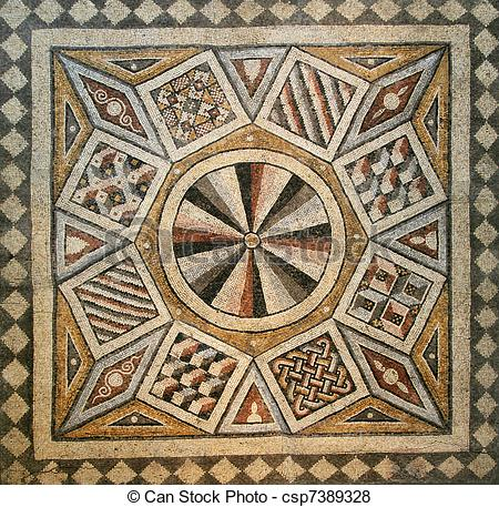 Pictures of mosaic tile floor.