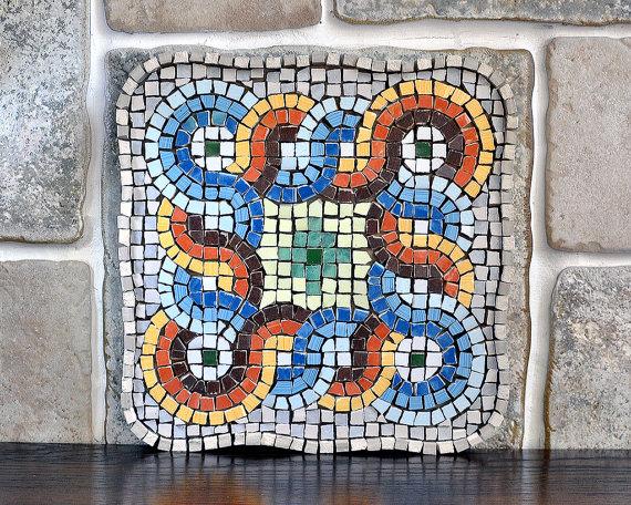 Items similar to Ancient greek roman mosaic art/ Mosaic wall art.