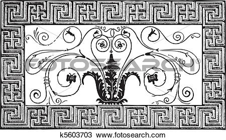 Clipart of Detail of an ancient Roman mosaic made of a foliated.