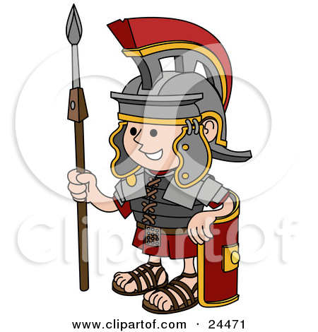 Cartoon of a Happy Roman Soldier Holding a Knife and Shield.
