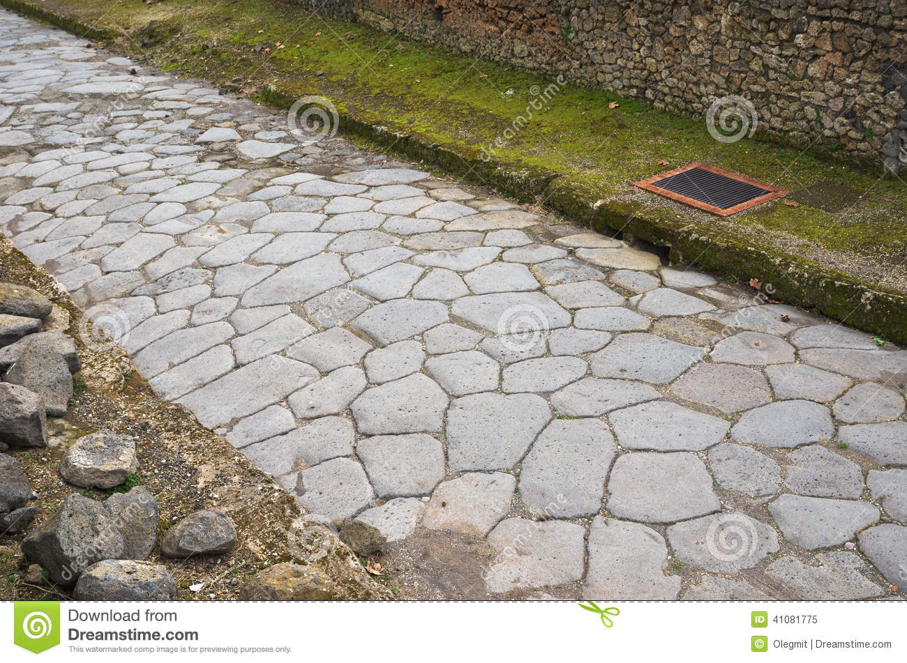 Ancient Roman Road Stock Photo.