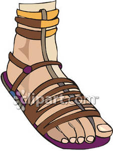 A Gladiator Sandal on a Foot Royalty Free Clipart Picture.