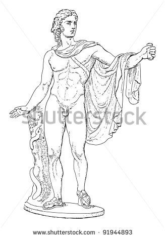 Roman Sculpture Black And White Clipart.