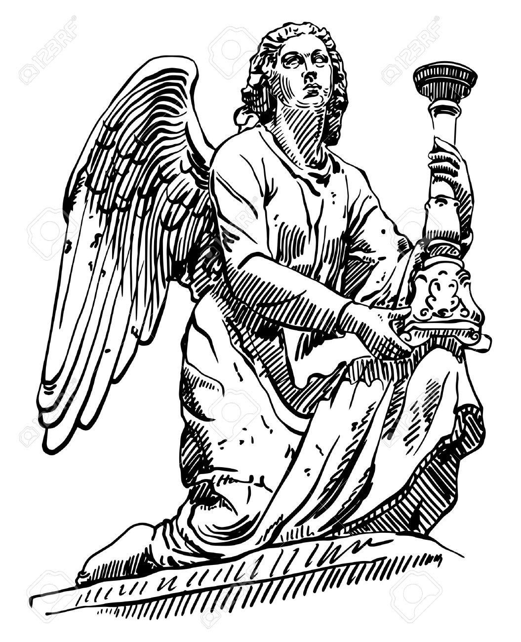 Black And White Sketch Drawing Of Marble Statue Angel From Rome.