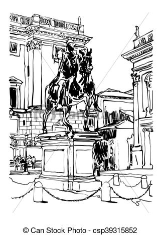 Clipart Vector of black and white drawing of Rome Italy cityscape.