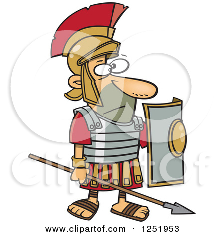 Clipart of a Cartoon Roman Soldier Standing with a Spear and.