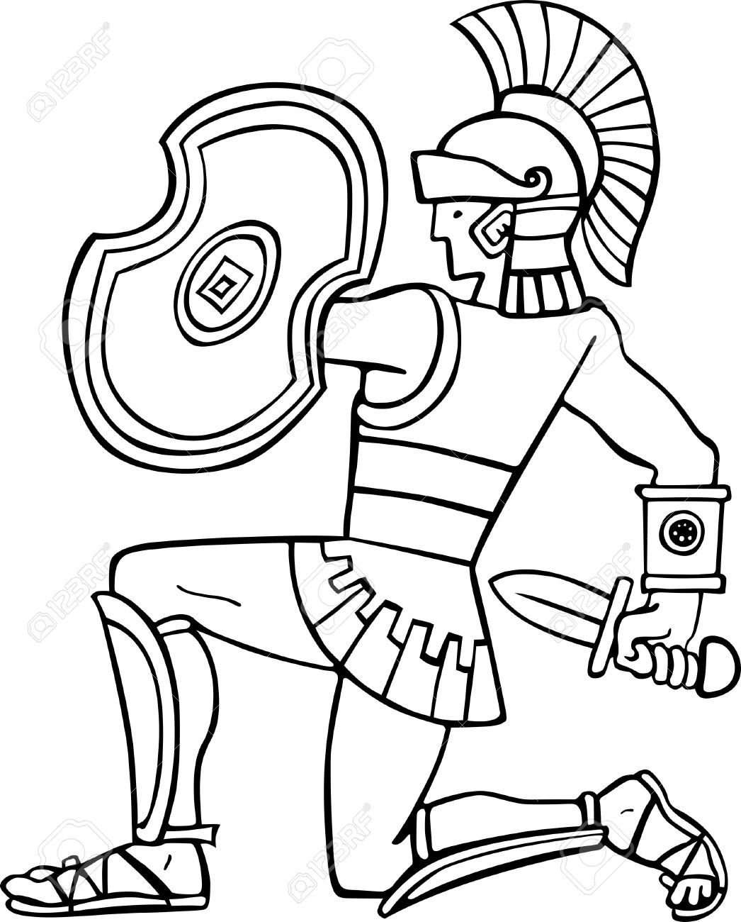 Roman Soldier Clipart Black And White.