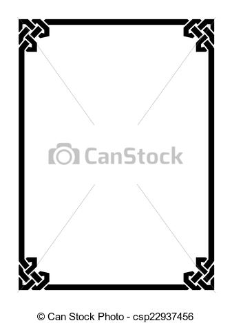 Clipart Vector of Roman style black ornamental decorative frame.