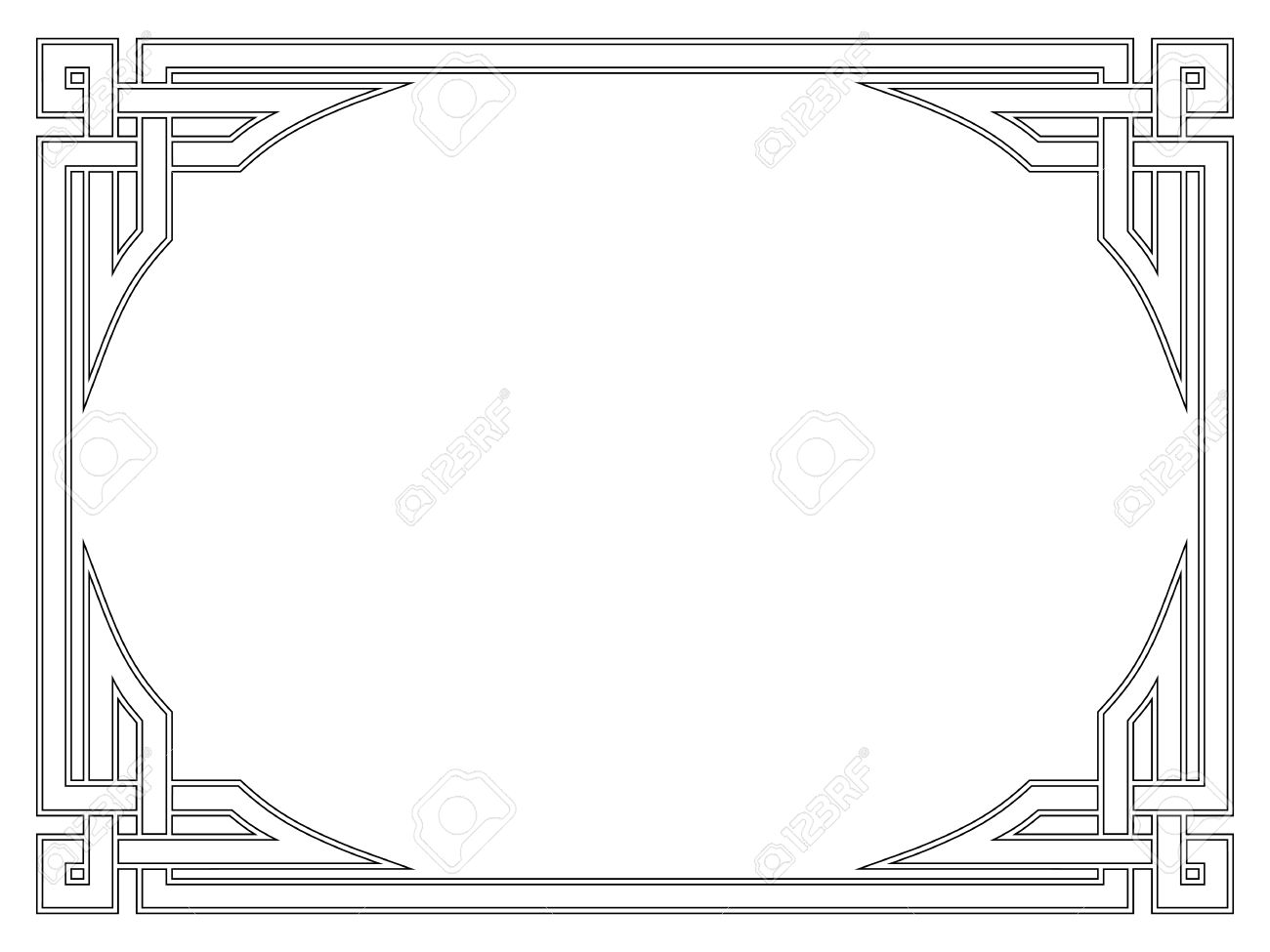 Roman Style Black Ornamental Decorative Frame Pattern Isolated.