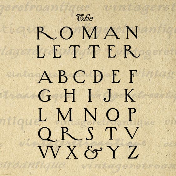 Printable Graphic Roman Style Letters Download Alphabet Digital.