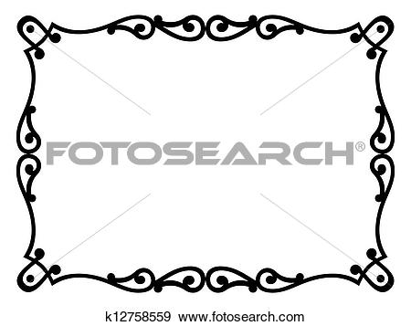 Clip Art of Roman style black ornamental decorative frame.