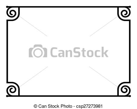 Vector of Roman style black ornamental decorative frame pattern.