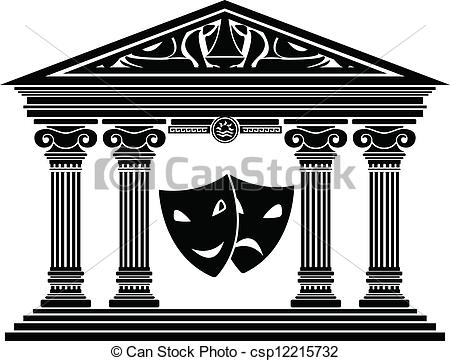 Clipart Vector of Greek drama masks.