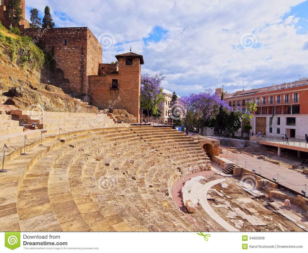 Roman Theatre In Malaga Royalty Free Stock Photos.