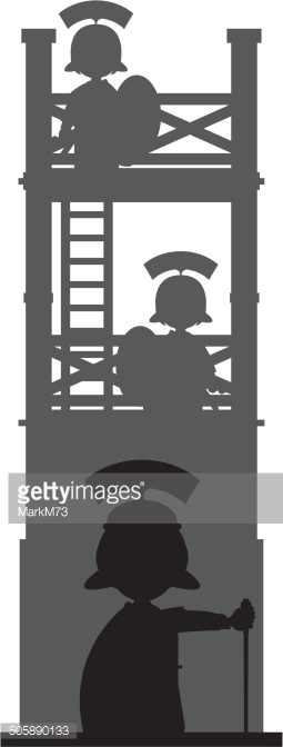Roman Soldiers At Guard Tower Vector Art.