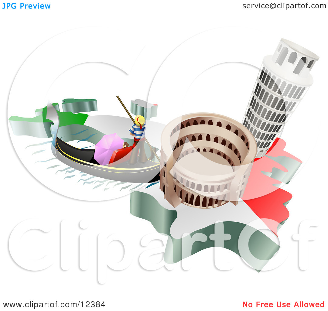 Tourist Attractions of the Leaning Tower of Pisa, Roman Coliseum.