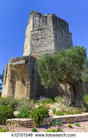 Stock Images of Roman tower in Nimes, Provence, France k12101546.