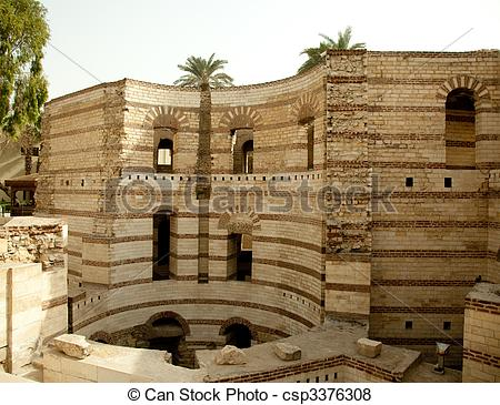 Pictures of Old roman tower of Babylon in Coptic area of Cairo.