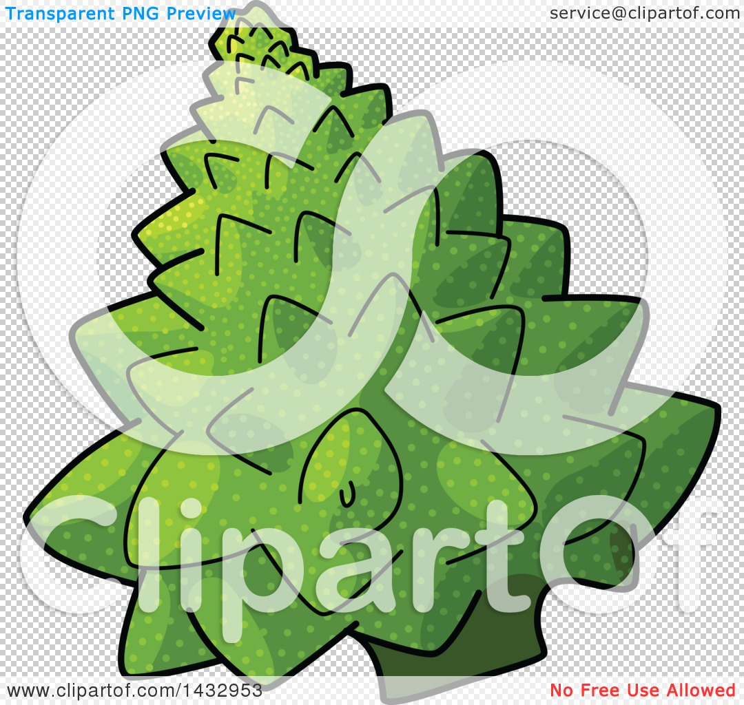 Clipart of a Cartoon Head of Romanesco Broccoli.