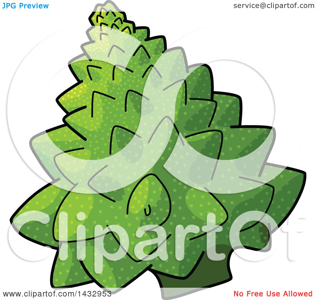 Clipart of a Cartoon Head of Romanesco Broccoli.