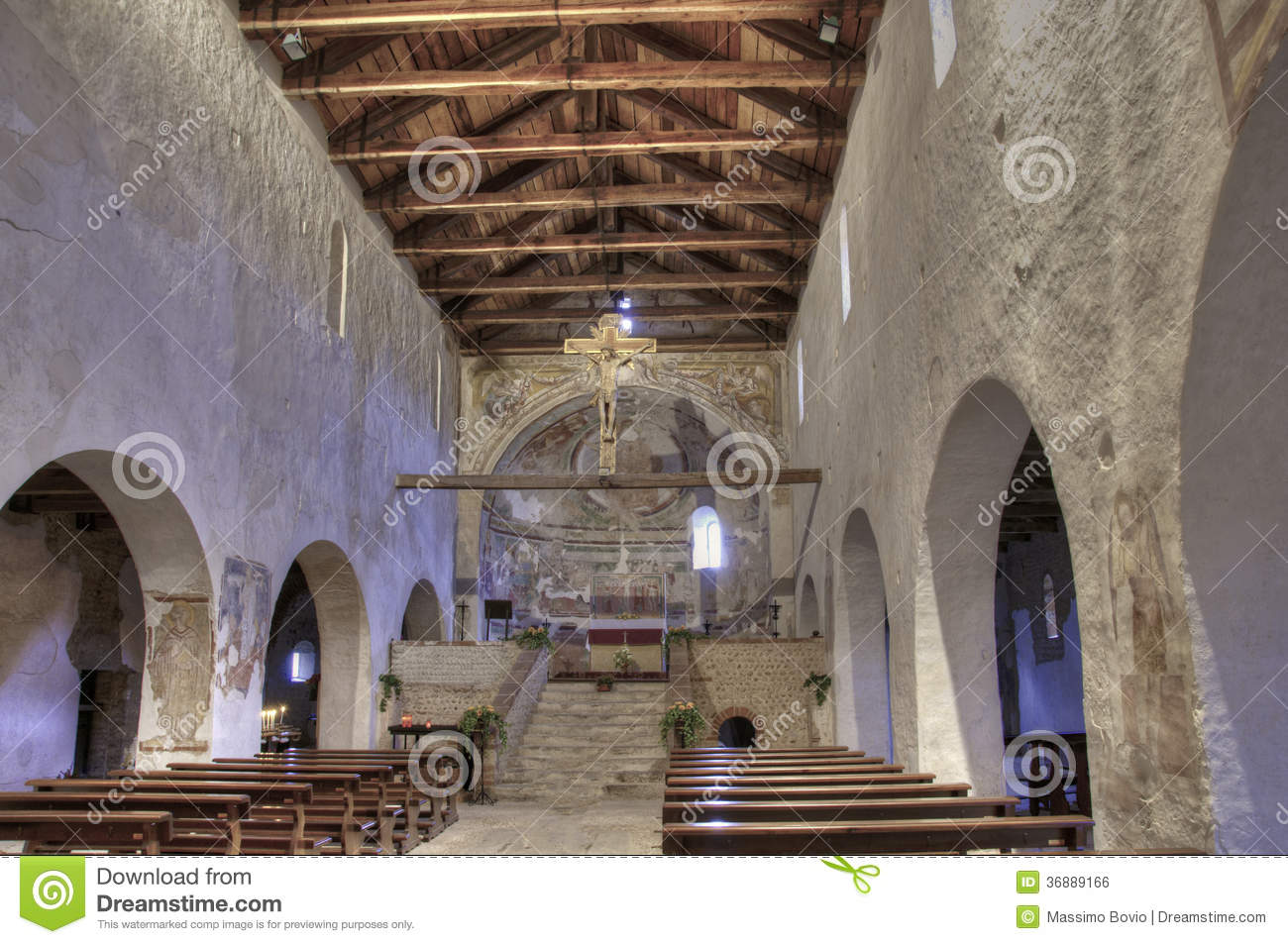 Italy Romanesque Church Inside Panorama Stock Image.