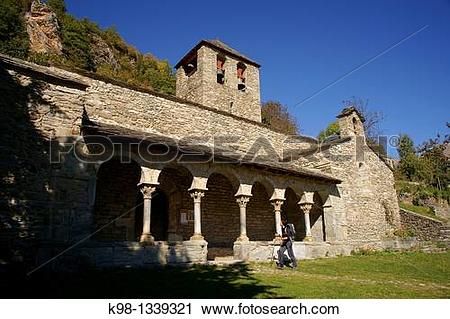 Stock Photography of Romanesque church of Sant Jaume, Queralbs.