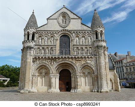 Stock Photography of Romanesque church in France.