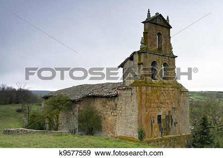 Stock Photograph of abandoned Romanesque church k9577559.