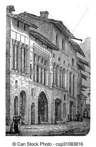 Clipart of Romanesque houses (twelfth century) in one of the.
