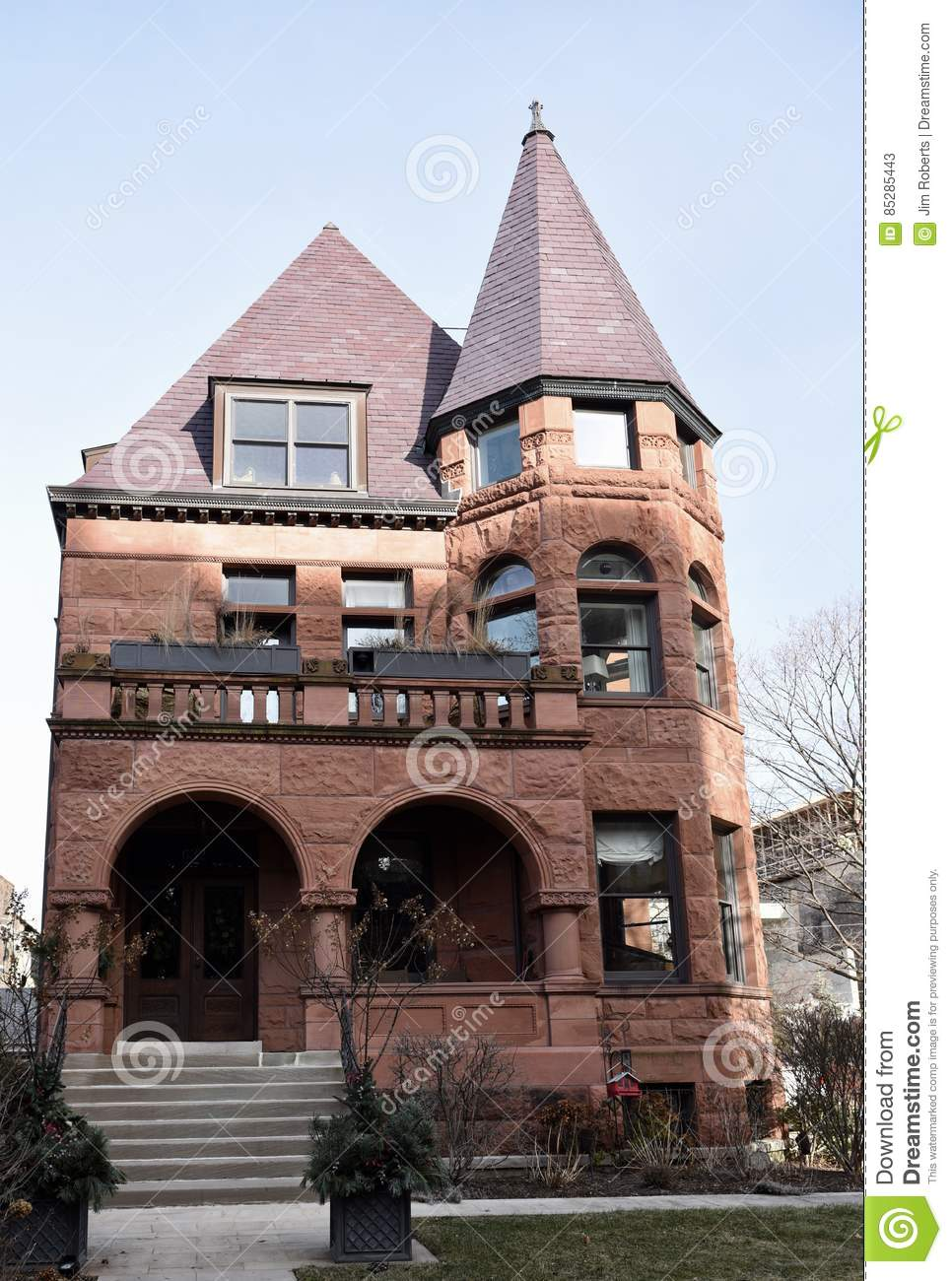 Romanesque Revival Mansion Editorial Stock Photo.