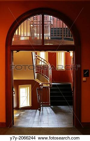 Stock Photo of Staircase at Austin Hall, Romanesque Revival.