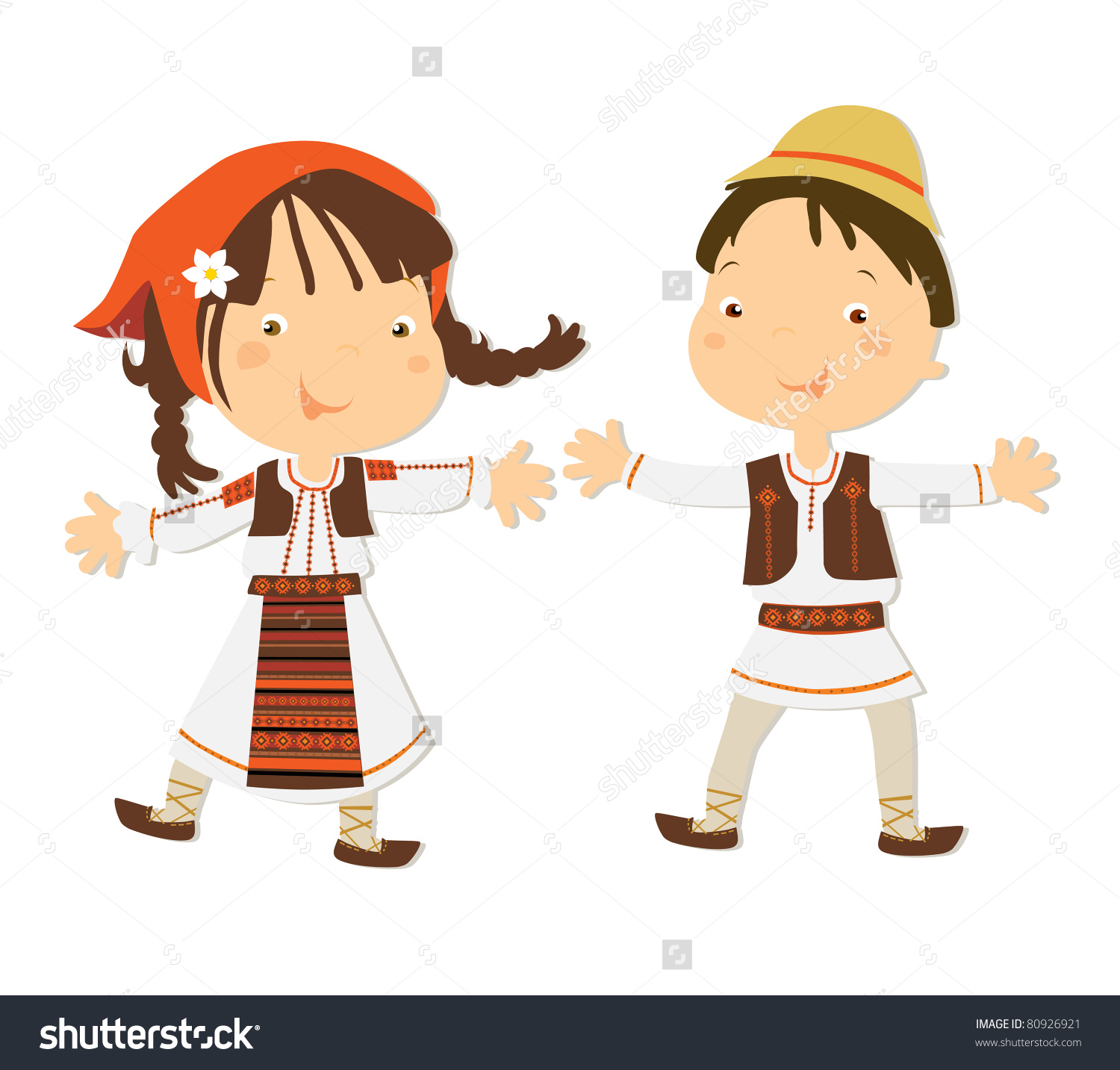 Romanian Kids Traditional Clothes Stock Vector 80926921.